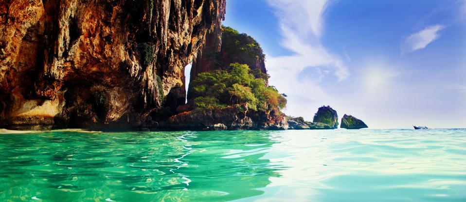 Limestone Cliffs In Railay Beach Thailand