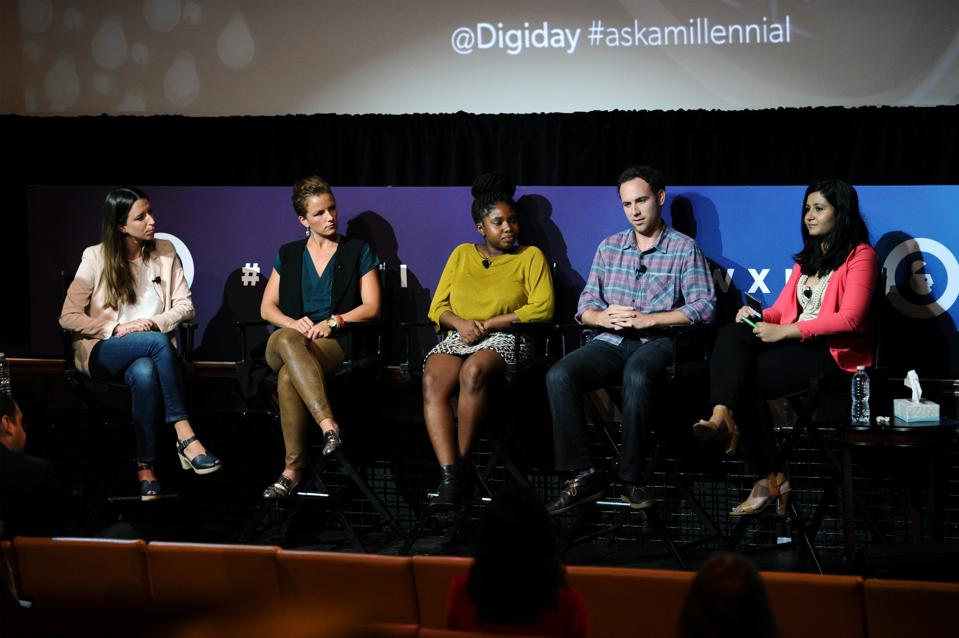 NEW YORK, NY - SEPTEMBER 30: Droga5 Accountant Manager Lucy Santilli, RAPP Cooperate Reputation Devin O'Loughlin, MRY Associate Strategist Toni Dawkins, attention/kbs+ Associate Director of Partnerships and Buisness Development Lucas Brockner, and Digiday Brands Editor Shareen Pathak speak onstage at the Ask a Millennial - Live! panel presented by Digiday during Advertising Week 2015 AWXII at the Hard Rock Cafe New York on September 30, 2015 in New York City.