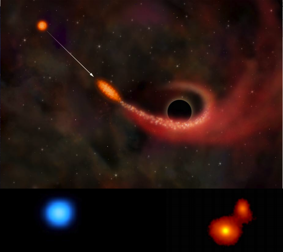 An illustration of a tidal disruption event, where a star is torn apart by another mass.