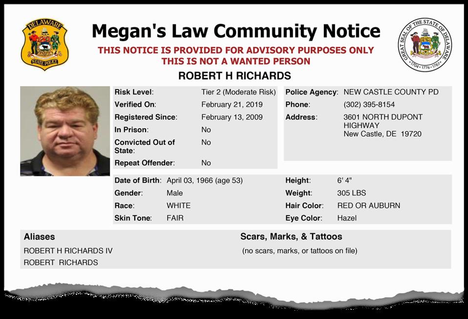 Robert Richards Megan's Law Community Notice