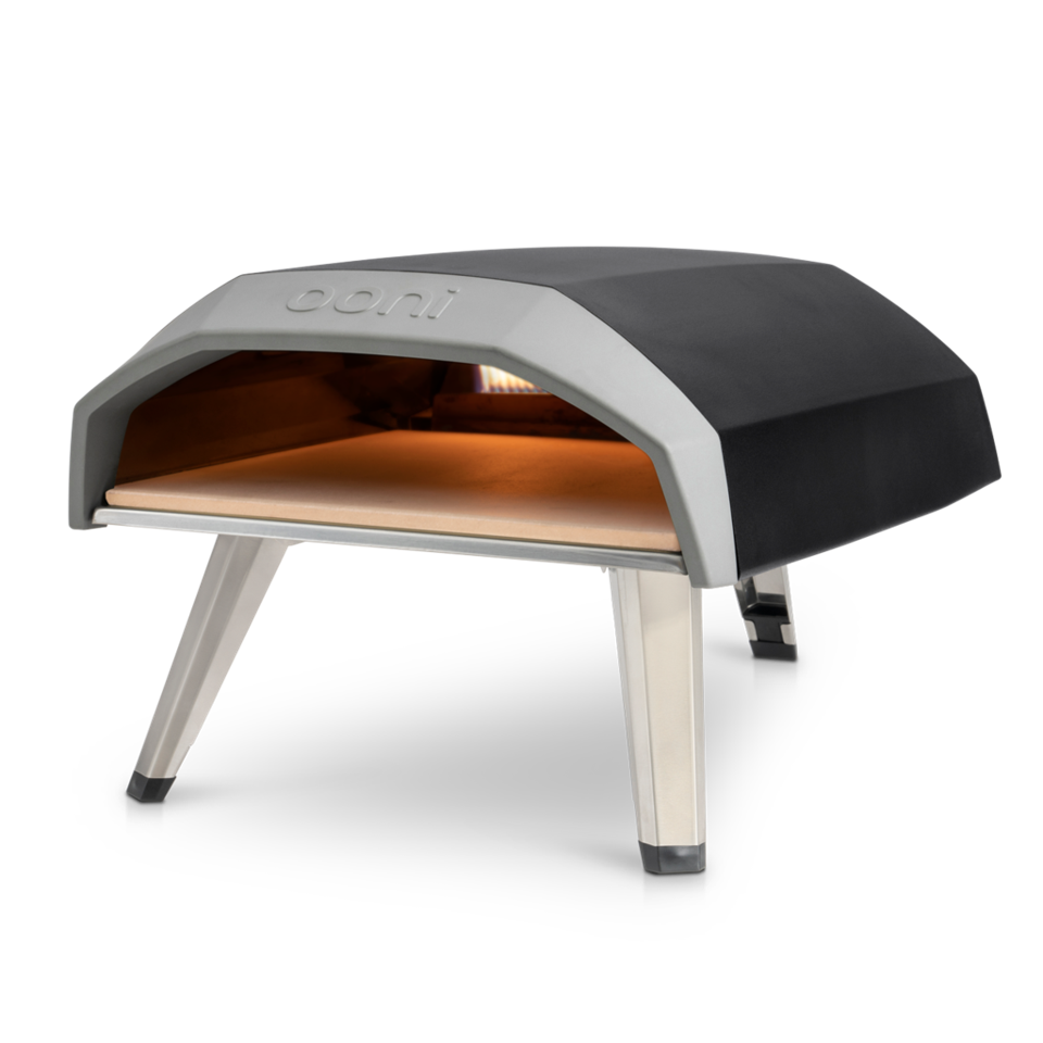 Small, black pizza oven with Tri-pod legs