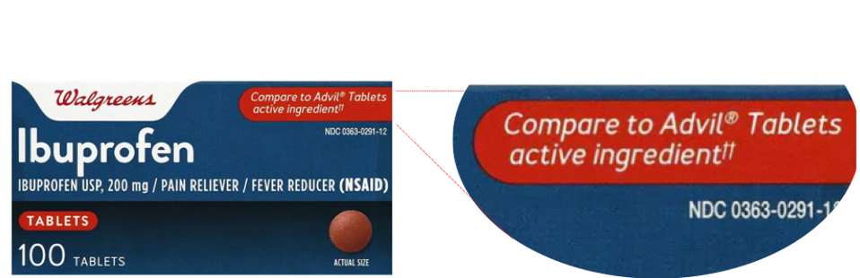 Walgreens Ibuprofen Compare to Advil Tablets active ingredient