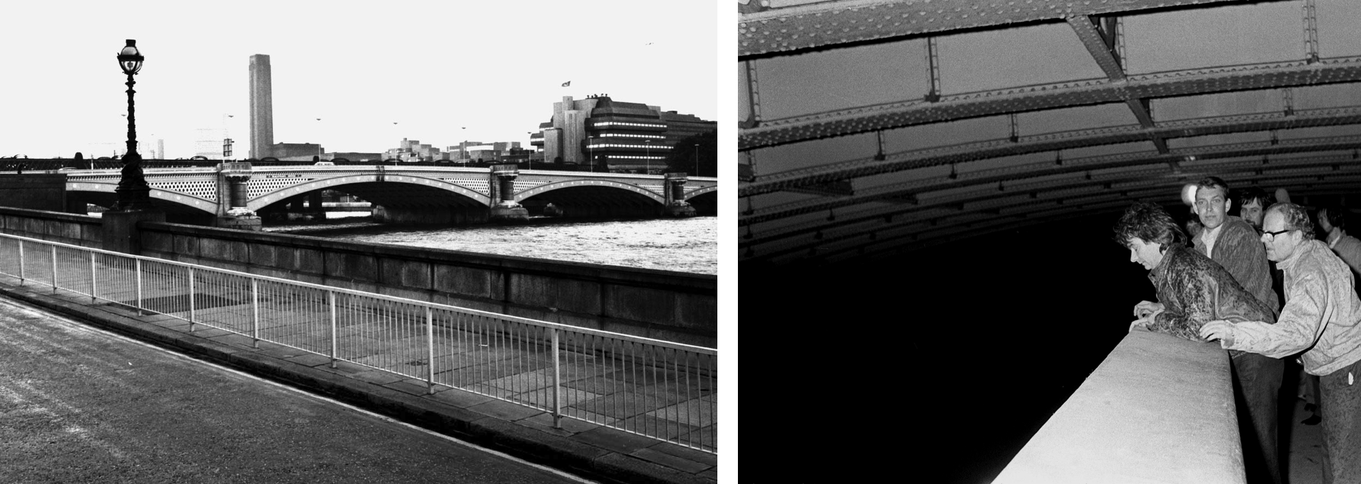 London's Blackfriars Bridge (L). Three of the jurors on the inquest of Italian banker Roberto Calvi, whose corpse was found hanging from the bridge (R).