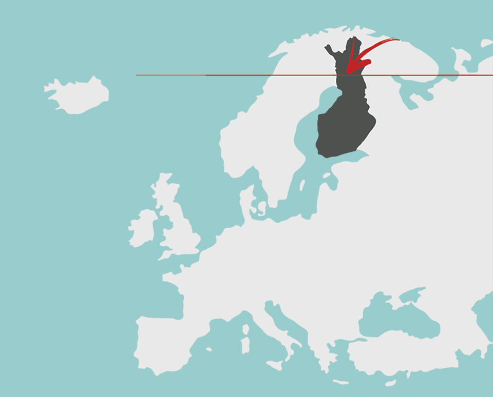 The location of Rovaniemi, Finland, in northern Europe.