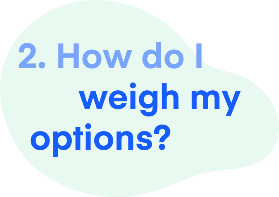 2. How do I weigh my options?