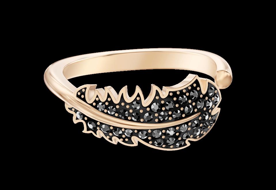 Swarovski black velvet crystal feather ring classic