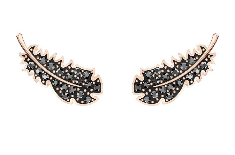 Swarovski dark crystal feather earrings from its Naughty collection