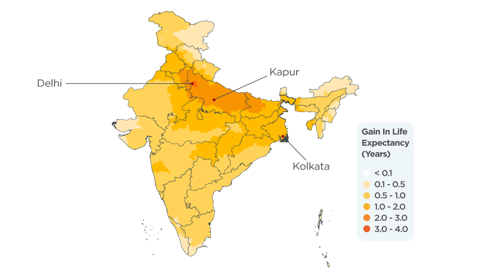 Map of India displaying the gain in life expectancy in years.
