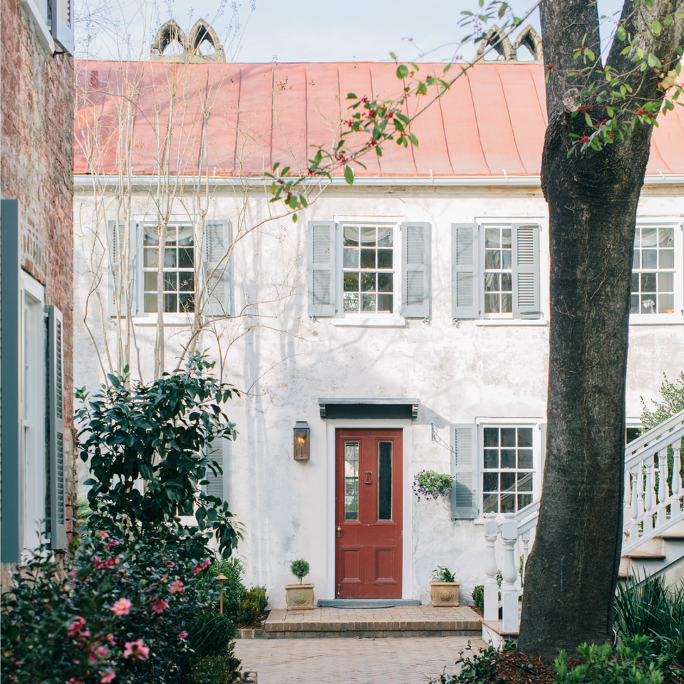 One of the original 1804 buildings on the property of the Zero George hotel in Charleston, South Carolina which is now the reception area and kitchen.