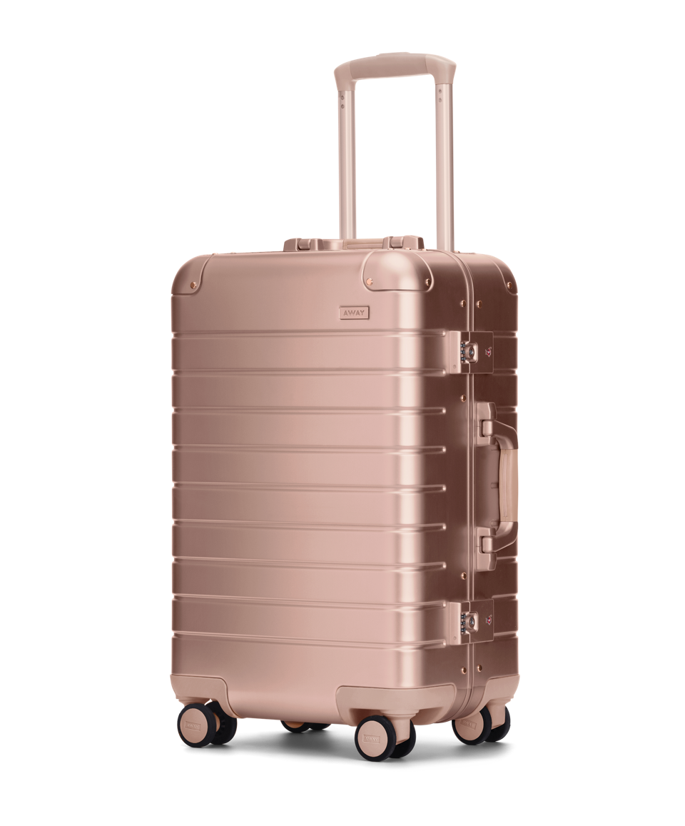 Away's Aluminum Collection Carry-On suitcase in rose gold