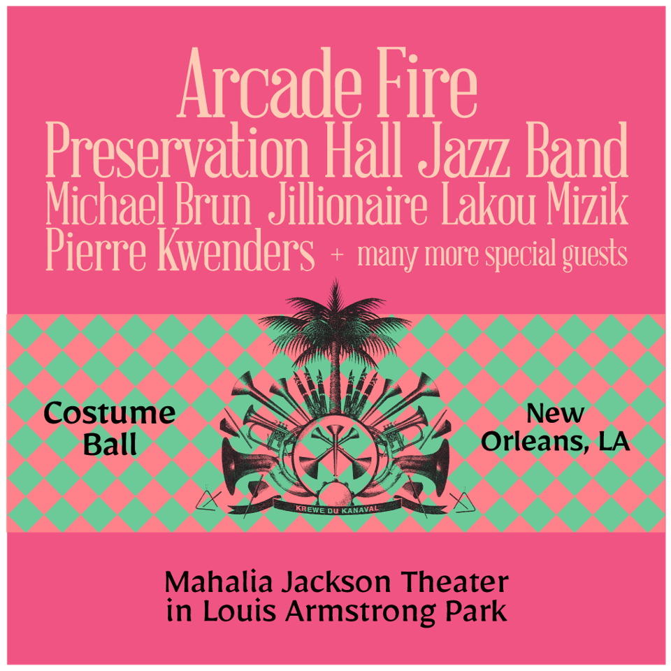 Krewe du Kanaval's Kanaval Ball takes place Friday, February 14, 2020 at Mahalia Jackson Theater in Louis Armstrong Park in New Orleans, LA featuring Arcade Fire, Preservation Hall Jazz Band and more