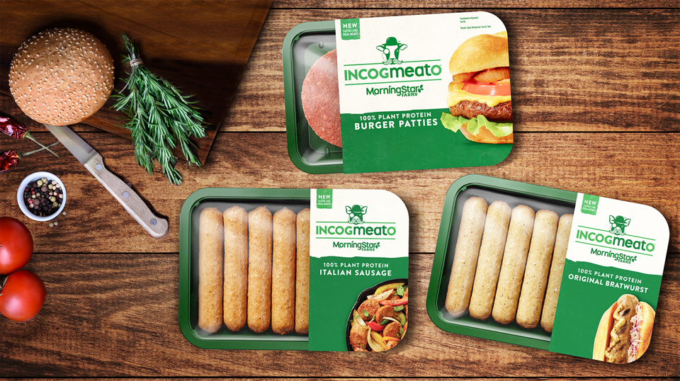 Plant-based Incogmeato burgers and sausages will be sold in the grocery meat case.