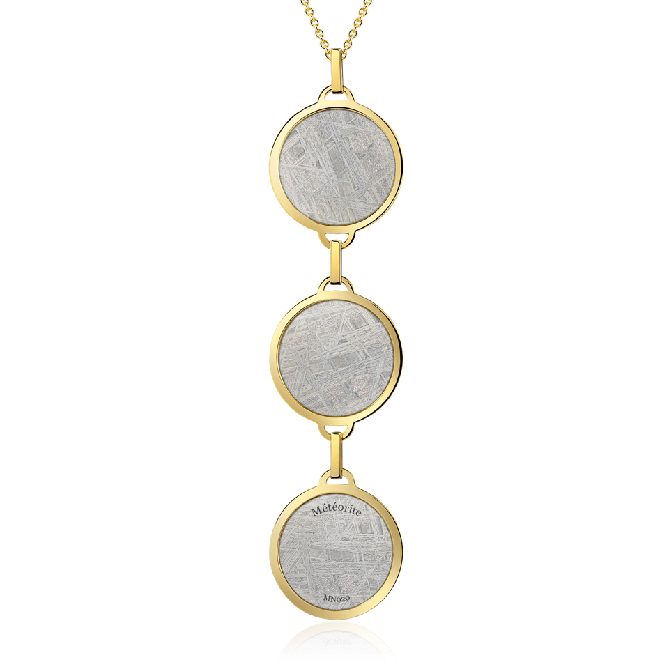 Meteorite Luxury triple meteorite pendant necklace in 18-karat gold
