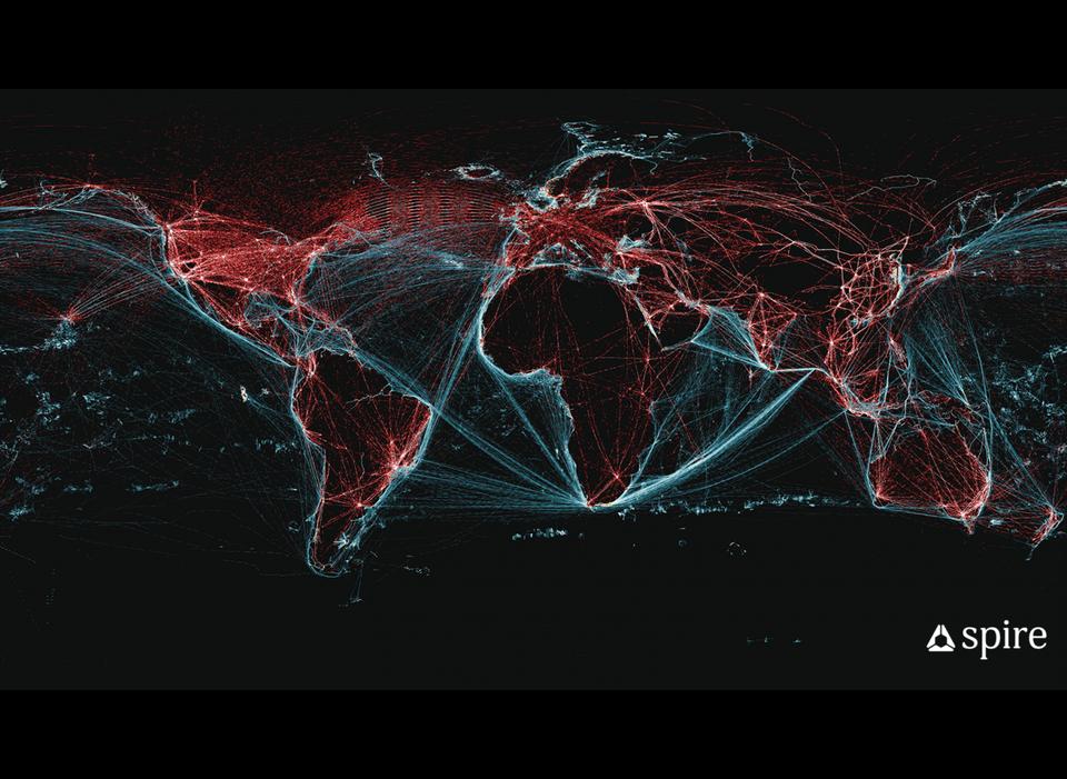 A worldwide representation of the Spire Global satellite signals, in radio wavelengths.