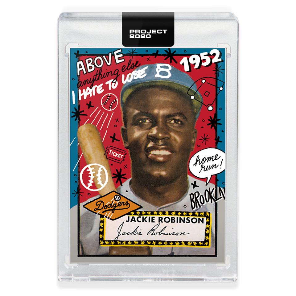 Sophia Chang's Project 2020 Topps Jackie Robinson card. The card is based on his original 1952 Topps card.