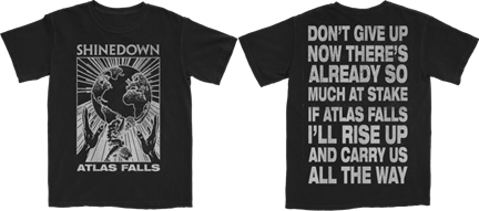 Shinedown's ″Atlas Falls″ t-shirt and song download bundle are available at Shinedown.com, to benefit frontline responders via Direct Relief (Photo courtesy of Shinedown)