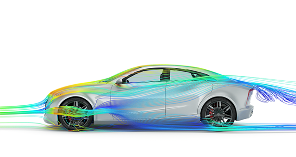 An aerodynamics simulation performed with Altair ultraFluidX on the Altair CX-1 concept design, modeled in Altair Inspire Studio.