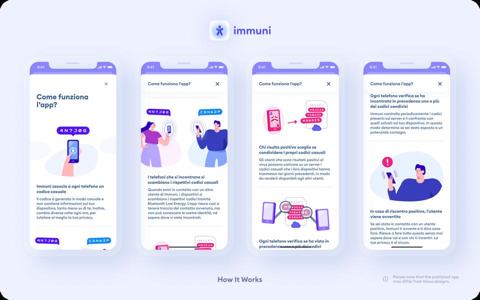 Some screenshots of the Immuni app, as uploaded on GitHub.