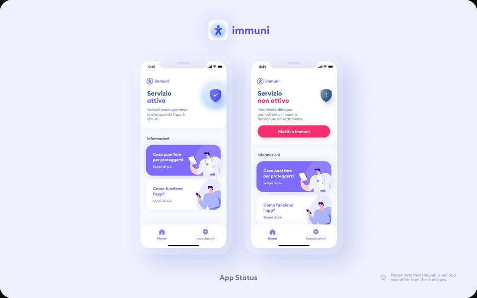Other screenshots of Immuni, showing the app status