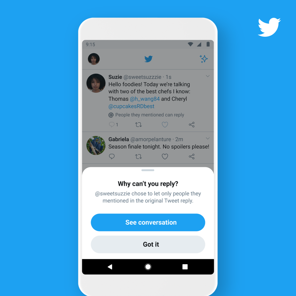 A user is alerted by Twitter as to why they cannot reply to an exclusive convo.