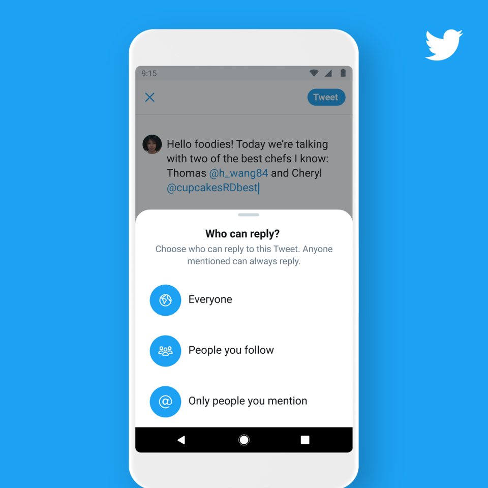 A new Twitter control setting allows users to choose who can reply to their post.