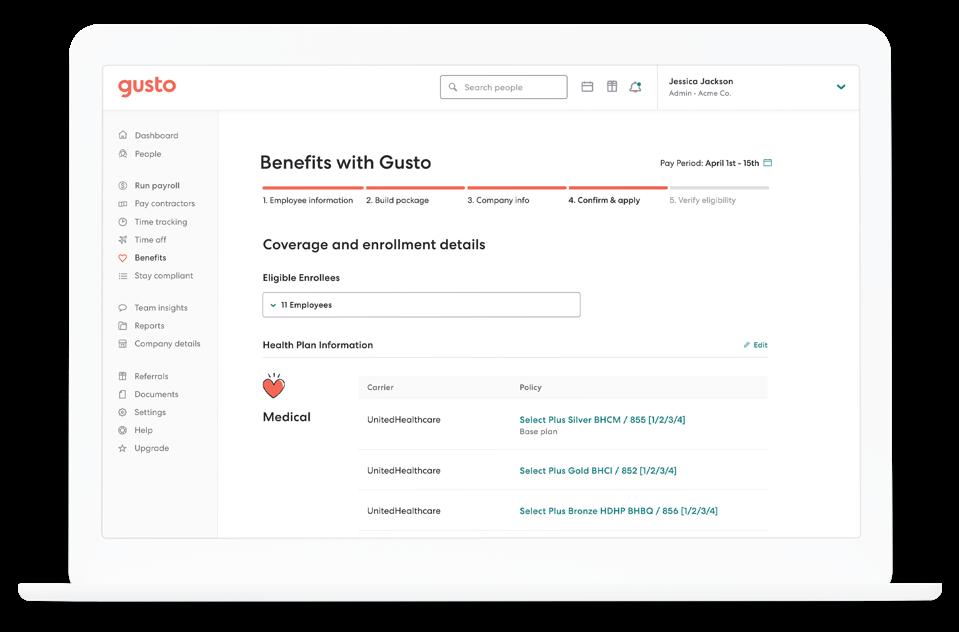 Gusto benefits dashboard