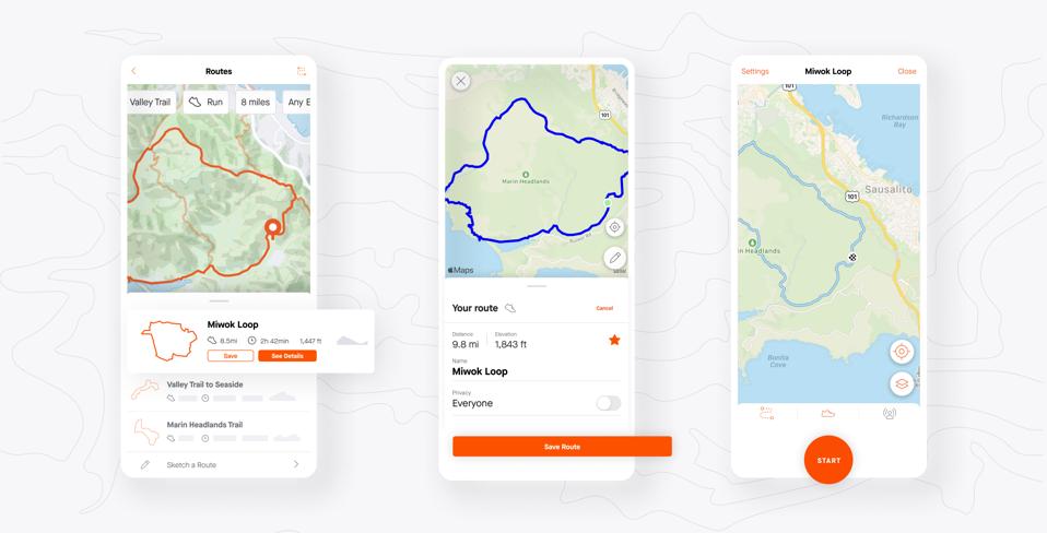 Screenshots of the Strava app