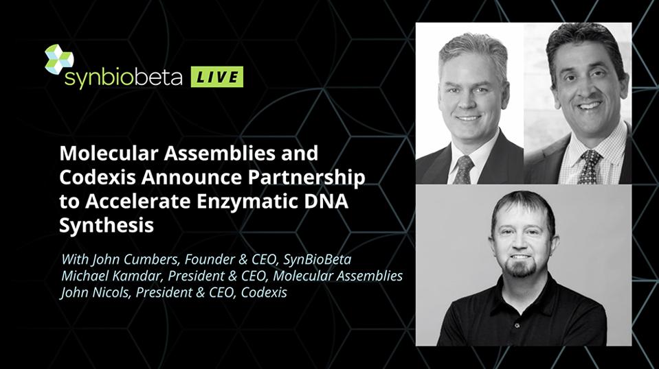 A picture of Molecular Assemblies CEO Michael Kamdar, Codexis CEO John Nicols, and SynBioBeta CEO John Cumbers.