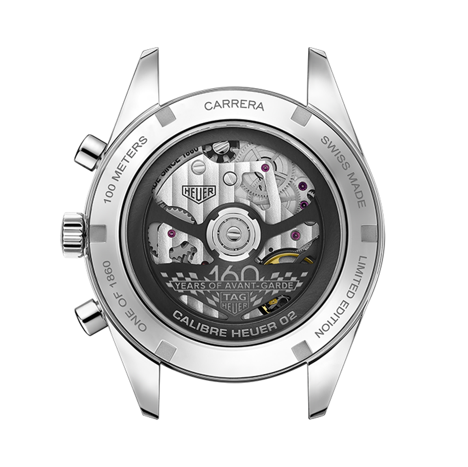 The caseback of the Tag Heuer Carrera 160 Years Montreal Limited Edition
