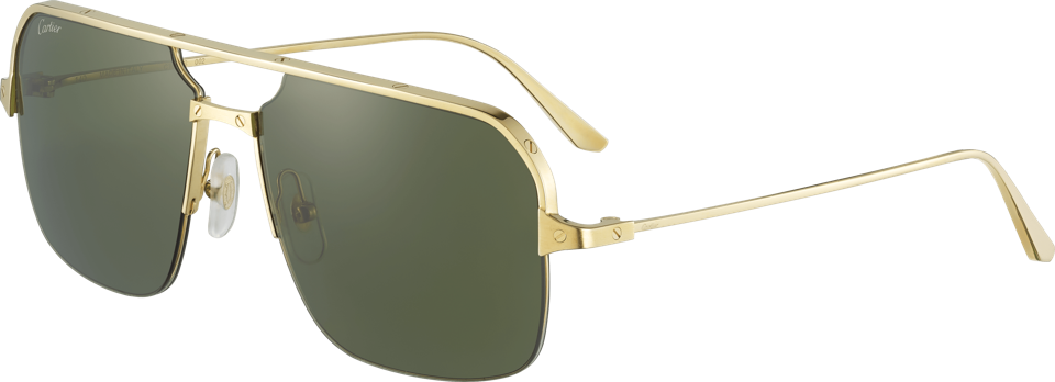 Santos de Cartier sunglasses, smooth and brushed golden-finish metal, golden-finish metal screws, green lenses, $1,045. Available at Cartier boutiques nationwide. For more information please visit www.cartier.com or contact 1-800-CARTIER.