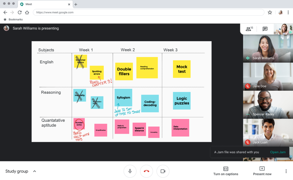 A better collaborative Jamboard experience is coming to Google Meet.