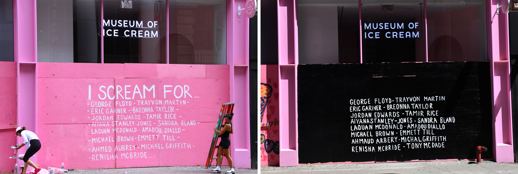 Before and after: the boarded-up storefront of the Museum of Ice Cream was painted pink in supposed solidarity with Black Lives Matter protests. But the color and a spelling mistake led to heavy social media backlash, and a redo.