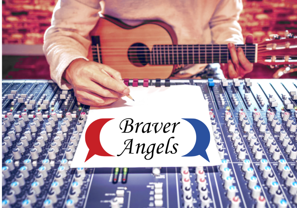 Someone with a guitar sits down in front of a mixer to write a song for Braver Angels.