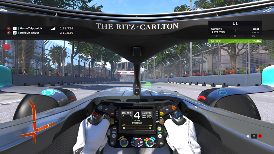 In cockpit view of F1 2020 game