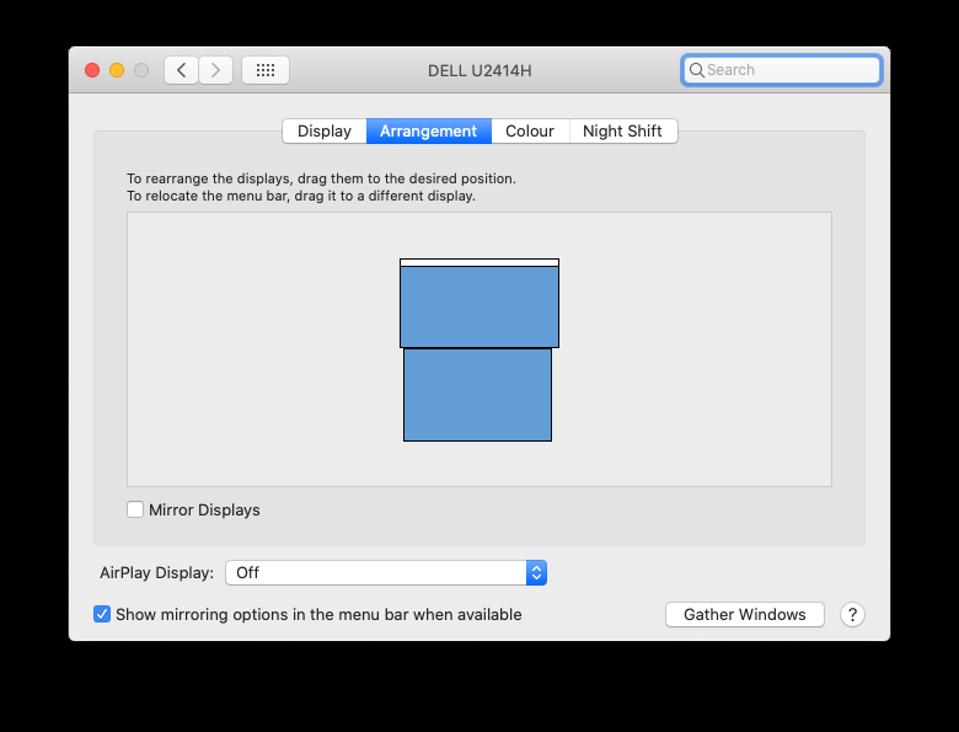 Apple Mac display settings