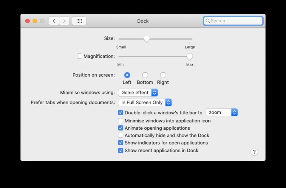 Apple Mac Dock setting screen