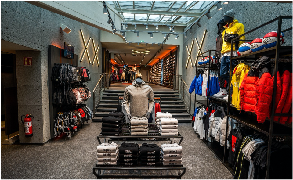 inside view of Snipes, a footwear and streetwear retailer store