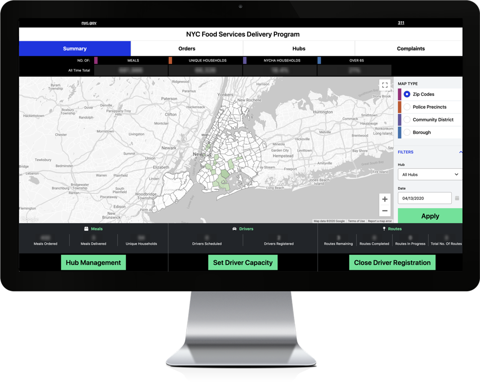 Unqork NYC Food Services Delivery Program Dashboard