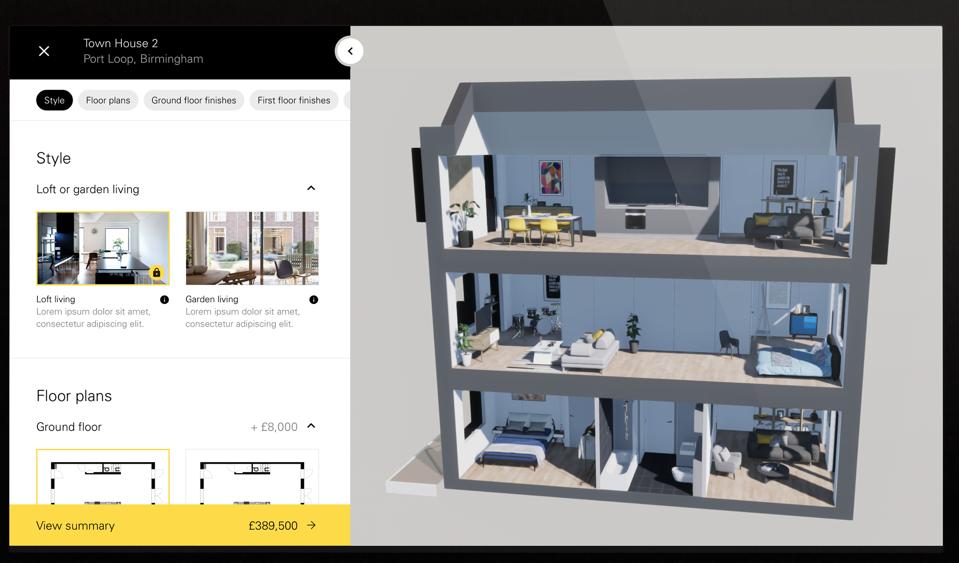 Online home design tool shows a 3D render cut away.
