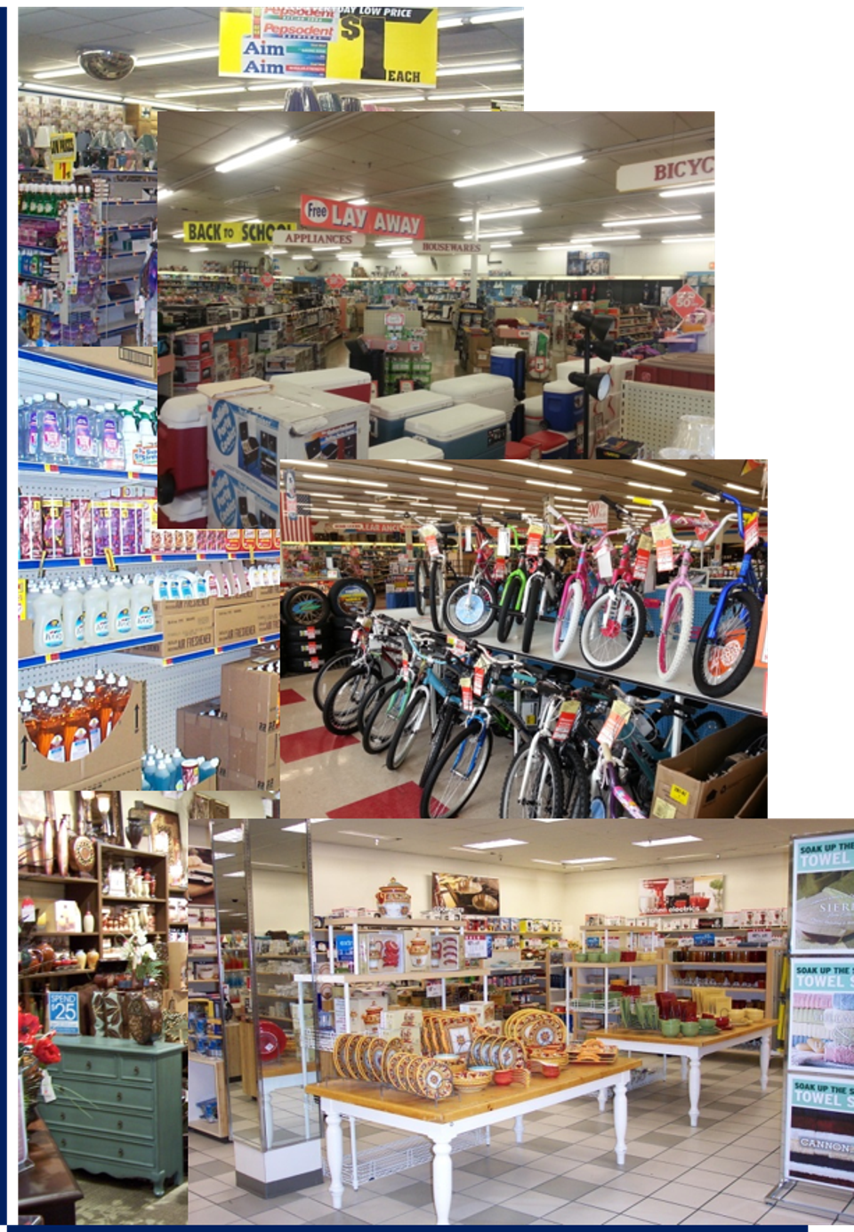 A colorful collection of retail sales floors
