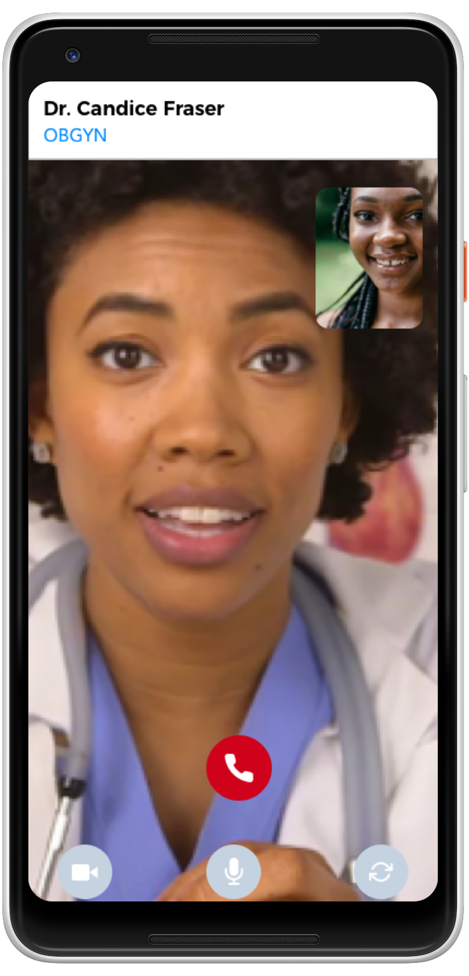 Image of a phone screen with a doctor talking to a patient.