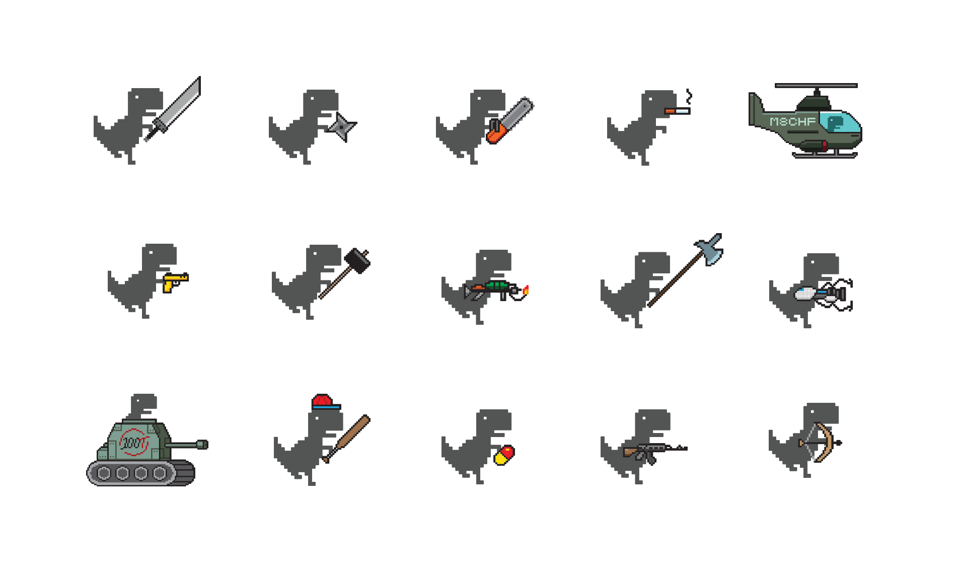 A few of the weapons available in Dino Swords