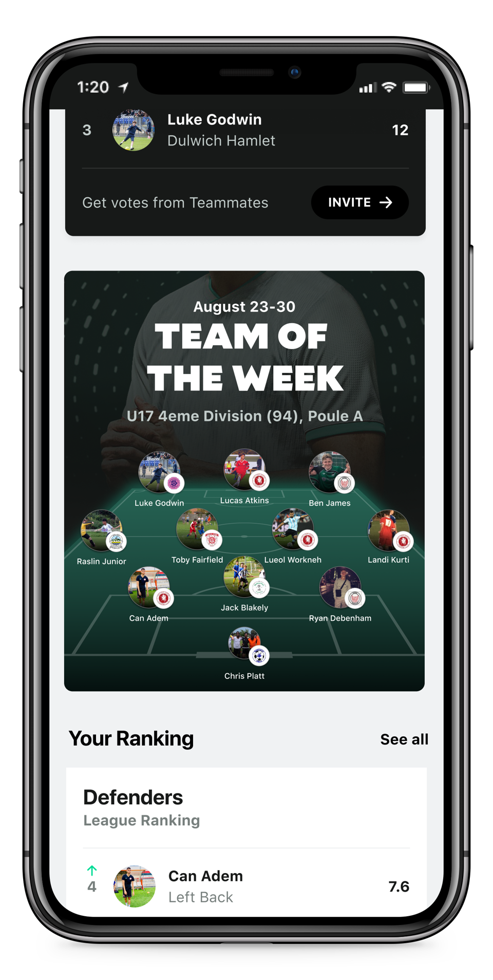 Image of Tonsser app, 'team of the week' feature.