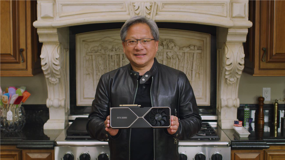 Jensen Huang holding the RTX 3000
