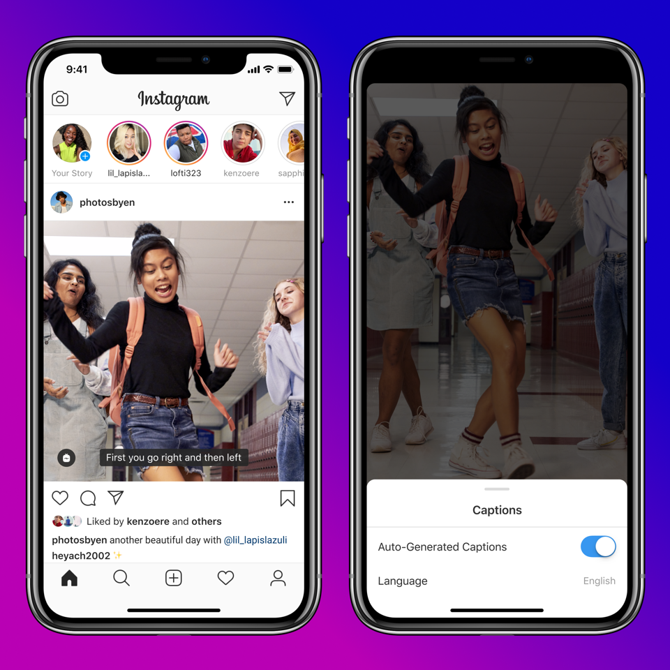 Screenshots of Instagram's new live captions feature on an iPhone