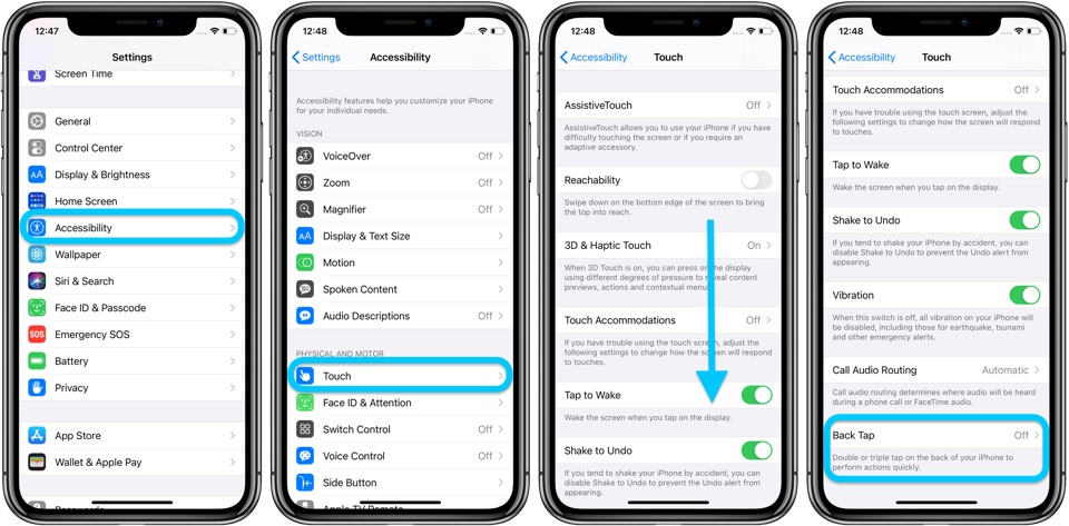iPhone screenshots of where to find Back Tap