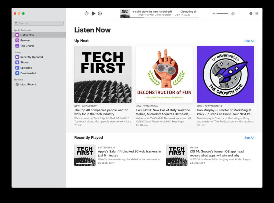 Apple's desktop Podcasts app