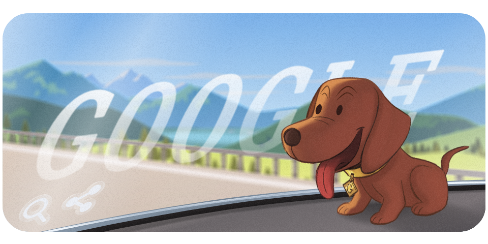 Color illustrating of a nodding dachsund figure in the back window of a car
