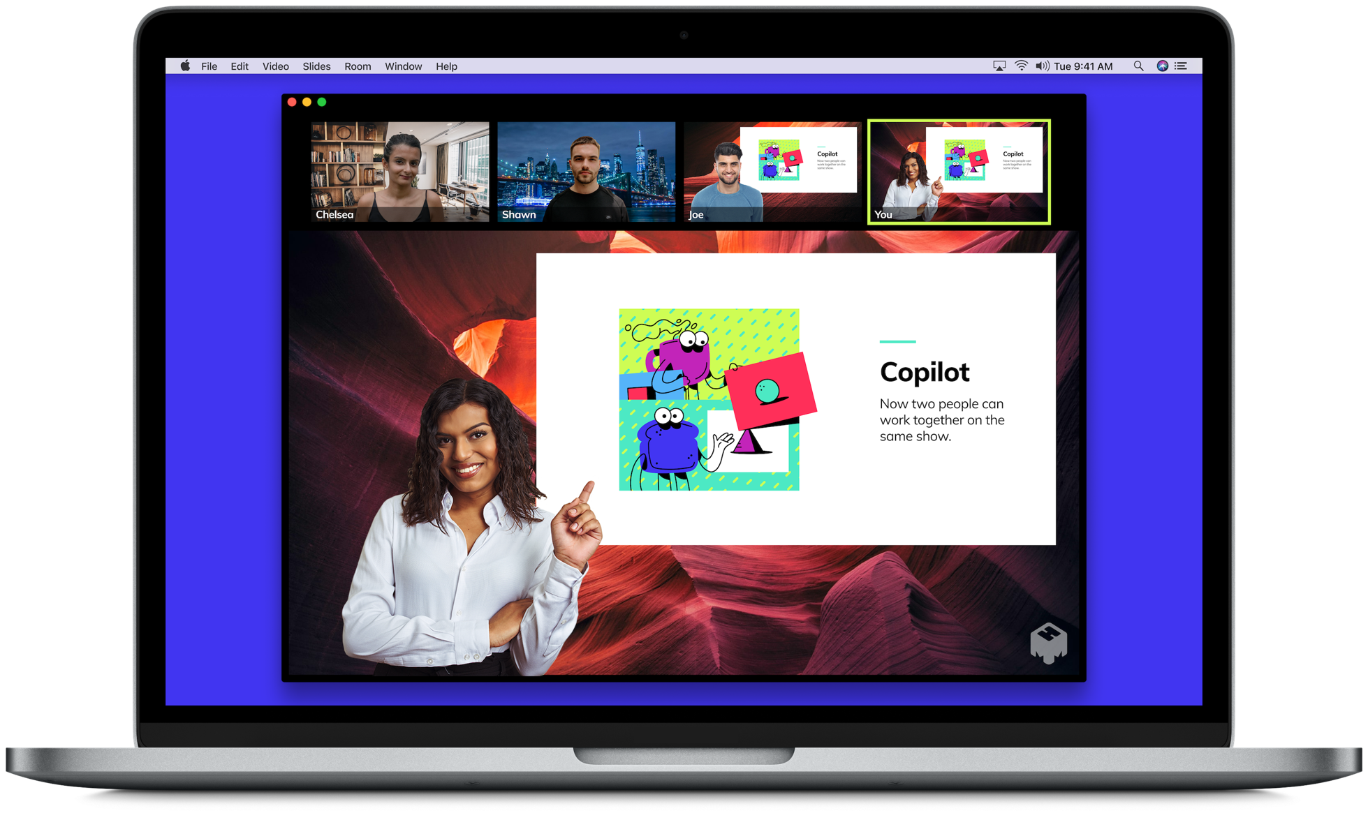 mmhmm's Copilot feature allows multiple people to present onscreen at the same time.