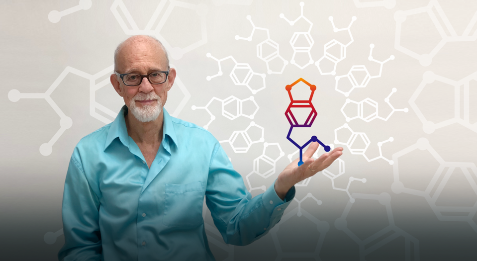 Psychotherapist Charley Wininger depicted in a photo illustration holding a MDMA molecule.